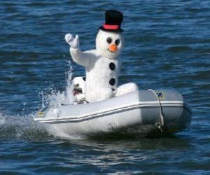 Puzzle de Muñeco de nieve en una barca