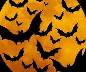 Puzzle de Murciélagos para la celebración del Halloween