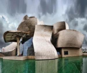 Puzzle de Museo Guggenheim Bilbao, museo de arte contemporáneo en Bilbao, País Vasco, España. Proyecto de Frank Gehry