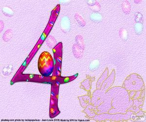 Puzzle de Número cuatro de Pascua