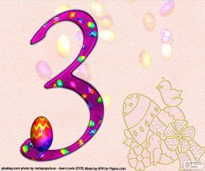 Puzzle de Número tres de Pascua