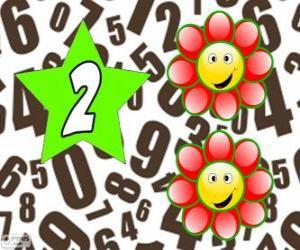 Puzzle de Número 2 dentro de una estrella con dos flores