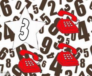 Puzzle de Número 3 dentro de una estrella con tres teléfonos