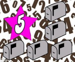 Puzzle de Número 5 dentro de una estrella con cinco buzones
