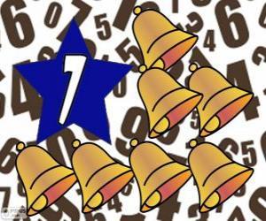 Puzzle de Número 7 dentro de una estrella con siete campanas