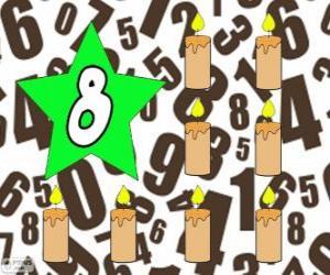 Puzzle de Número 8 dentro de una estrella con ocho velas