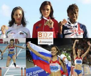 Puzzle de Natalia Antiuj campeona en 400 m vallas, Vania Stambolova y Perri Shakes-Drayton (2ª y 3era) de los Campeonatos de Europa de atletismo Barcelona 2010