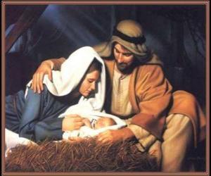 Puzzle de Natividad - El Niño Jesús con su madre María y su padre José