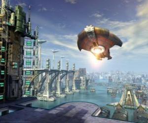 Puzzle de Nave extraterrestre, platillo volante o OVNI volando