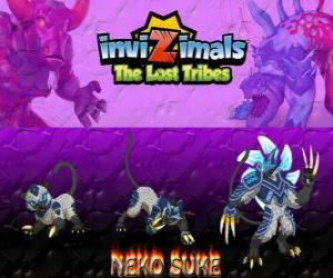Puzzle de Neko Suke, última evolución. Invizimals Las Tribus Perdidas. Este sigiloso invizimal es un maestro del engaño