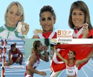 Puzzle de Nevin Yanit campeona en 100 m vallas, Derval O'Rourke y Carolin Nytra (2ª y 3era) de los Campeonatos de Europa de atletismo Barcelona 2010