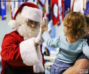 Puzzle de Niña y Santa Claus