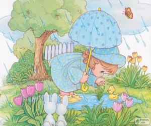 Puzzle de Niña en un día lluviosos