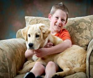 Puzzle de Niño con su perro