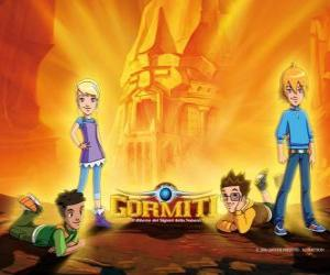 Puzzle de Nick, Toby, Lucas y Jessica, cuatro amigos que se convierten en los Señores de la Naturaleza para salvar Gorm