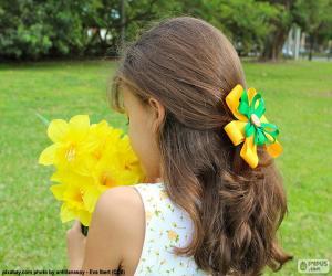 Puzzle de Niña con flores