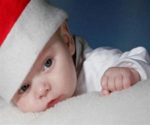 Puzzle de Niño con un gorro de Papá Noel