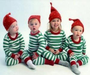 Puzzle de Niños disfrazados por Navidad