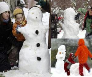 Puzzle de Niños jugando con un muñeco de nieve