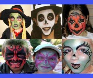 Puzzle de niños maquillados para Halloween