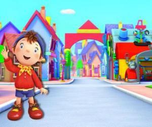Puzzle de Noddy es un niño hecho de madera que vive en una pequeña casa en Toyland, la ciudad de los juguetes