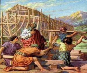 Puzzle de Noé construye su arca para salvar del diluvio universal a los escogidos