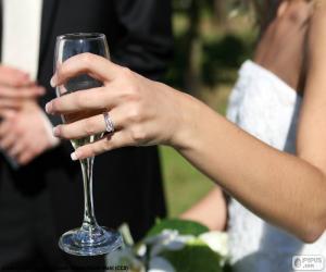 Puzzle de Novia con copa de champán