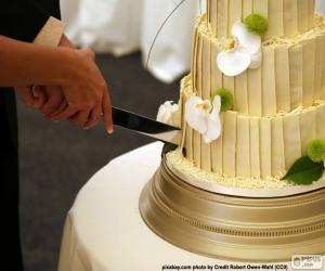 Puzzle de Novios cortando la tarta