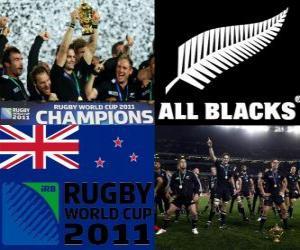 Puzzle de Nueva Zelanda, campeona del mundo de rugby. Campeonato Mundial de Rugby 2011