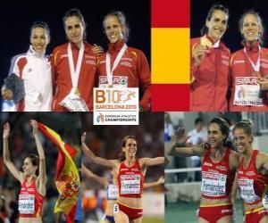 Puzzle de Nuria Fernández campeona en 1500 m, Hind Dehiba y Natalia Rodríguez (2ª y 3era) de los Campeonatos de Europa de atletismo Barcelona 2010