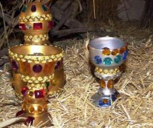Puzzle de Ofrendas de los Reyes Magos, oro, incienso y mirra, al Niño Jesús