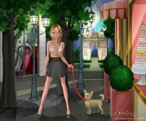 Puzzle de Oh My Dollz paseando al perro