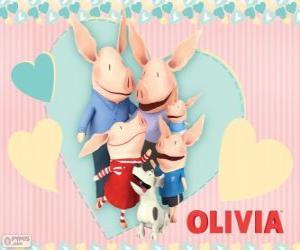 Puzzle de Olivia la cerdita con su família