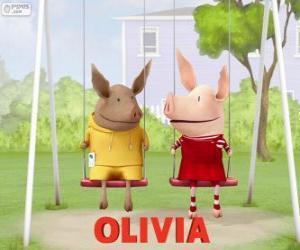 Puzzle de Olivia y Julian en el columpio