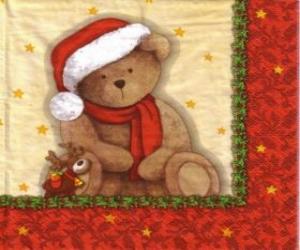 Puzzle de Osito de peluche con gorro y bufanda de Papá Noel