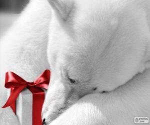 Puzzle de Oso polar con un regalo