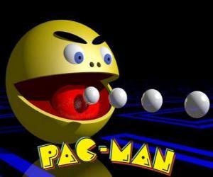 Puzzle de Pac-Man comiendo bolas con el logo