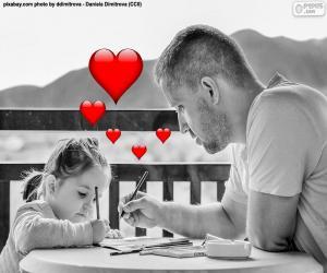 Puzzle de Padre pintando con su hija