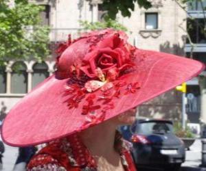 Puzzle de Pamela roja, son sombreros de ala muy ancha utilizados por las mujeres