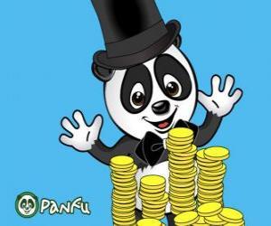 Puzzle de Panda muy contento observando muchas monedas de Panfu