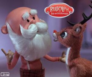 Puzzle de Papá Noel con Rodolfo