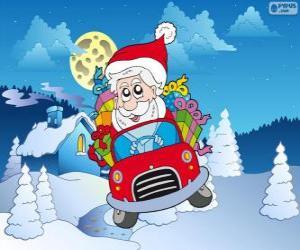 Puzzle de Papá Noel conduciendo un coche