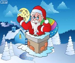 Puzzle de Papá Noel en la chimenea