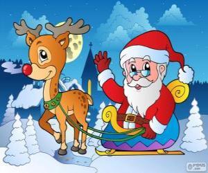 Puzzle de Papá Noel en trineo
