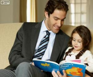 Puzzle de Papá ayudando a leer a su hija
