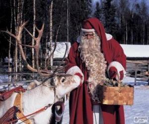 Puzzle de Papá Noel dando de comer al reno