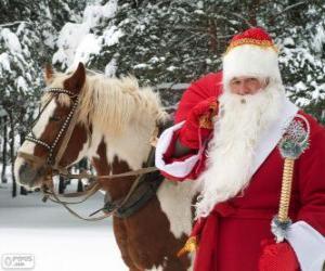 Puzzle de Papá Noel junto a un caballo