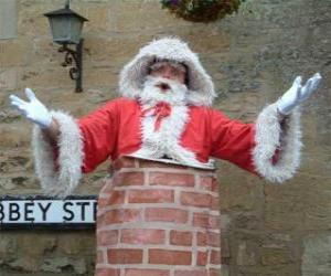 Puzzle de Papá Noel con problemas para pasar por la chimenea