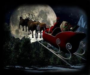 Puzzle de Papá Noel en su trineo mágico volador tirado por los renos navideños la noche de Navidad