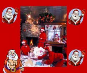 Puzzle de Papá Noel leyendo las cartas de los niños que él ha recibido para estas Navidades